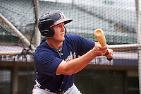 Mississippi Braves third baseman Kevin Ahrens (17) during practice before a game against the Mobile BayBears on April 28, 2015 at Hank Aaron Stadium in Mobile, Alabama.  The game was suspended after the top of the second inning with Mobile leading 3-0, the BayBears went on to defeat the Braves 6-1 the following day.  (Mike Janes/Four Seam Images)