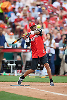 Cincinnati Reds great Eric Davis bats during the All-Star Legends and Celebrity Softball Game on July 12, 2015 at Great American Ball Park in Cincinnati, Ohio.  (Mike Janes/Four Seam Images)