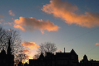 Holland, Amsterdam, 19 December 2014<br /> <br /> Pink clouds during sunset in Amsterdam.<br /> <br /> Photo Kees Metselaar