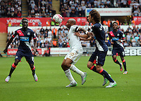 Pictured: Andre Ayew of Swansea (C) challenged by Fabricio Coloccini of Newcastle (R) Saturday 15 August 2015<br /> Re: Premier League, Swansea City v Newcastle United at the Liberty Stadium, Swansea, UK.