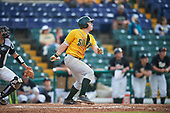 Siena Saints second baseman Jordan Bishop (4) at bat during a game against the Pittsburgh Panthers on February 24, 2017 at Historic Dodgertown in Vero Beach, Florida.  Pittsburgh defeated Siena 8-2.  (Mike Janes/Four Seam Images)