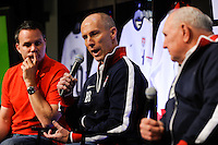 National Soccer Hall of Fame member Walter Bahr (R), USA National Team Head Coach Bob Bradley and Eric Wynalda (L) during the unveiling of the USA Men's National Team new uniform at Niketown in NYC, NY, on April 29, 2010.
