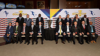 Santa Clara, CA - Tuesday, March 07, 2017: 2017 CONCACAF Gold Cup Groups & Schedule UnveilingCONCACAF General Secretary, Philippe Moggio, CONCACAF President, Victor Montagliani, Al Guido, Dave Kaval, CONCACAF team coaches during the unveiling of the CONCACAF 2017 Gold Cup Groups & Schedule at Levi's Stadium.