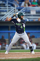 Vermont Lake Monsters third baseman Ryan Howell (4) at bat during a game against the Batavia Muckdogs August 9, 2015 at Dwyer Stadium in Batavia, New York.  Vermont defeated Batavia 11-5.  (Mike Janes/Four Seam Images)