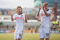 Alan Smith and Jon Stead of Notts County clap their fans at full time of the Sky Bet League 2 match between Newport County and Notts County at Rodney Parade, Newport, Wales on 30 April 2016. Photo by Mark  Hawkins / PRiME Media Images.