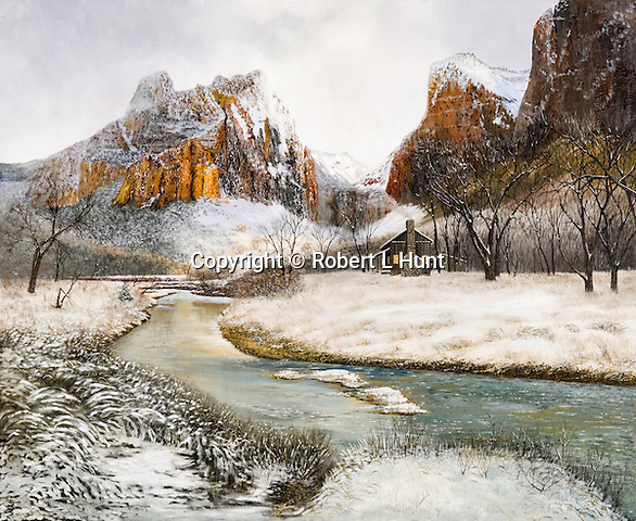 """A Mormon pioneer homestead in scenic winter snow and sunlight in the late 1800's, present day Zion National Park, Utah. Oil on canvas: 32"""" x 39""""."""