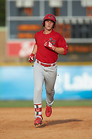 Nolan Gorman (4) of the Johnson City Cardinals rounds the bases after hitting a home run against the Burlington Royals at Burlington Athletic Stadium on July 15, 2018 in Burlington, North Carolina. The Cardinals defeated the Royals 7-6.  (Brian Westerholt/Four Seam Images)