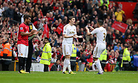 Pictured: (L-R) Ben Davies, Neil Taylor.<br /> Sunday 12 May 2013<br /> Re: Barclay's Premier League, Manchester City FC v Swansea City FC at the Old Trafford Stadium, Manchester.