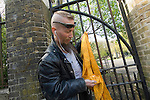 The funeral of the late music manager and punk pioneer Malcolm McLaren in London this afternoon. Punk from Newcastle with Malcolm McLaren tattoo outside the cemetary gates..