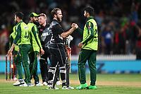 20th December 2020; Hamilton, New Zealand;  Kane WIlliamson shakes hands with Shadab Khan after the match, <br /> New Zealand Black Caps versus Pakistan, International Twenty20 Cricket. Seddon Park, Hamilton, New Zealand.