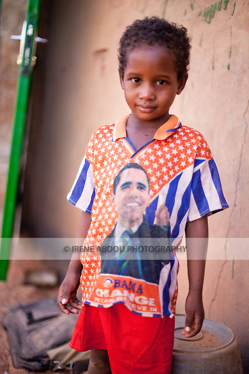 A Fulani girl in the town of Djibo in northern Burkina Faso wears a Barack Obama t-shirt.