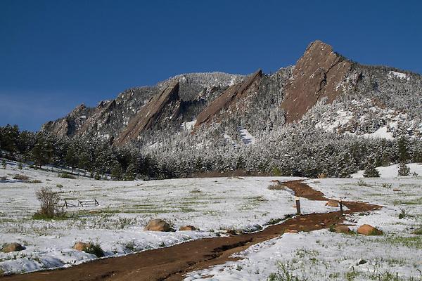 Spring snowstorm in Boulder, Colorado, USA.