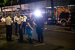 The NYPD investigates a shooting on Dekalb Avenue near Taaffe Place, where a man was reportedly shot in the back, in the Brooklyn borough of New York, U.S., on Wednesday, August 4, 2021. Photographer: Michael Nagle
