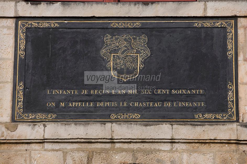 Europe/France/Aquitaine/64/Pyrénées-Atlantiques/Saint-Jean-de-Luz : Détail Plaque de la Maison de l'Infante