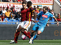 Calcio, Serie A: Roma vs Napoli. Roma, stadio Olimpico, 25 aprile 2016.<br /> Napoli's Gonzalo Higuain, right, is challenged by Roma's Ervin Zukanovic, left, and Antonio Ruediger during the Italian Serie A football match between Roma and Napoli at Rome's Olympic stadium, 25 April 2016.<br /> UPDATE IMAGES PRESS/Riccardo De Luca