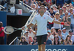 Novak Djokovic (SRB) defeats Stanislaus Wawrinka (SUI) in the semis, 2-6, 7-6, 3-6, 6-3, 6-4 at the US Open being played at USTA Billie Jean King National Tennis Center in Flushing, NY on September 7, 2013