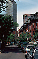 Boston:  Back Bay--Braddock Park Row Houses, from Columbus, looking east to the 52 story Prudential Tower.  Architect Charles Luckman, 1959-1965.  Photo '91.