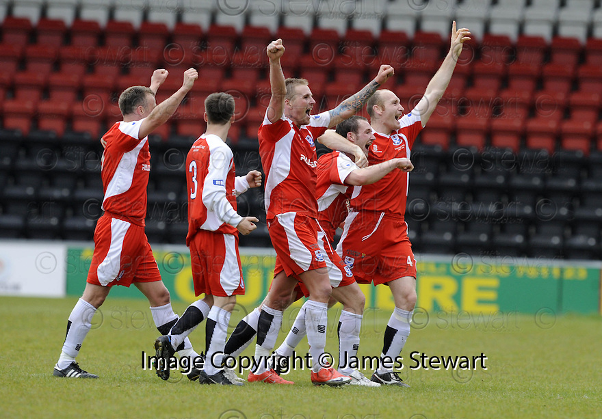 24/05/2009  Copyright  Pic : James Stewart.sct_jspa_08_airdrie_v-Ayr.AYR UTD PLAYERS CELEBRATE AT THE FINAL WHISTLE.James Stewart Photography 19 Carronlea Drive, Falkirk. FK2 8DN      Vat Reg No. 607 6932 25.Telephone      : +44 (0)1324 570291 .Mobile              : +44 (0)7721 416997.E-mail  :  jim@jspa.co.uk.If you require further information then contact Jim Stewart on any of the numbers above.........