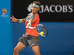 Rafael Nadal (ESP) defeats Kei Nishikori (JPN) 7-6, 7-5, 7-6 at the Australian Open in Melbourne, Australia on January 2014
