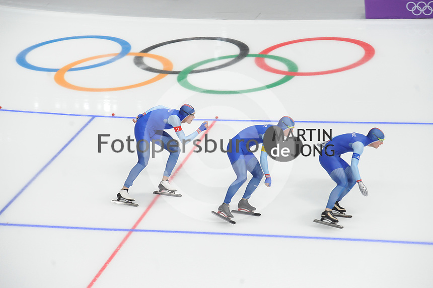 OLYMPIC GAMES: PYEONGCHANG: 18-02-2018, Gangneung Oval, Long Track, Team Pursuit Men, Team Norway, Sindre Henriksen, Simen Spiler Nilsen, Sverre Lunde Pedersen, ©photo Martin de Jong