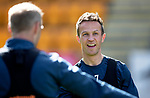 St Johnstone Training…10.05.18<br />Chris Millar pictured during training before playing his final game for St Johnstone against Ross County talking with Steven Anderson<br />Picture by Graeme Hart.<br />Copyright Perthshire Picture Agency<br />Tel: 01738 623350  Mobile: 07990 594431