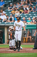 Dalton Pompey (7) of the Salt Lake Bees at bat against the Sacramento River Cats at Smith's Ballpark on August 16, 2021 in Salt Lake City, Utah. The Bees defeated the River Cats 6-0. (Stephen Smith/Four Seam Images)