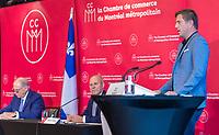 La Chambre de commerce du Montréal métropolitain dévoile les huit gagnants de l'appel de projets créatifs annoncé au mois de juin dernier dans le cadre de sa grande initiative « J'aime travailler au centre-ville », le vendredi 24 septembre ,lors d'une conférence de presse, au Westin Montréal.<br /> <br /> PHOTO : Agence Québec Presse - Ryan Rumpel