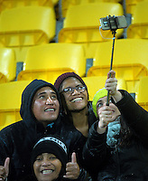 Fans take a selfie during the Super Rugby match between the Hurricanes and Highlanders at Westpac Stadium, Wellington, New Zealand on Friday, 27 May 2016. Photo: Dave Lintott / lintottphoto.co.nz
