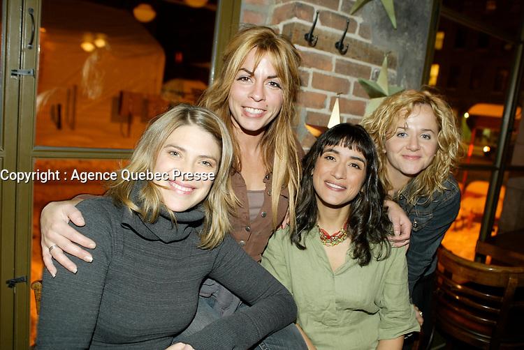 Montreal (Qc) CANADA - December 2007 file photo-<br /> -Helene Florent,<br /> -Anne Cassabonne,<br /> -GeneviZvre Rochette,<br /> -Brigitte Lafleur, at the<br /> launch of La galere (TV) DVD.<br /> <br /> Alliance Vivafilm, Productions RCB inc.,et Cirrus ont lancé mercredi 5 décembre le coffret DVD de la premiZre saison de la série « La GalZre C, diffusée sur les ondes de Radio-Canada. Ont participé ? ce lancement : lOauteure Renée-Claude Brazeau, la réalisatrice Sophie Lorain, et la plupart des comédiennes et comédiens dont Anne Casabonne, HélZne Florent, Brigitte Lafleur et GeneviZvre Rochette.<br /> photo (c) Pierre Roussel- Images Distribution