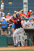 Center fielder Che-Hsuan Lin of the Salem Red Sox hitting during a game against  the Myrtle Beach Pelicans on May 3, 2009