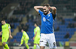 St Johnstone v Hibernian…27.02.19…  McDiarmid Park    SPFL<br />Chris Kane reacts after missign a chance to score<br />Picture by Graeme Hart. <br />Copyright Perthshire Picture Agency<br />Tel: 01738 623350  Mobile: 07990 594431