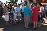 """Nether  Stowey Female Friendly Society Club Day. The Womens Walk Day. Local women and flower girls meet at the village """"cross"""". Nether Stowey Somerset UK. 2014. 208th"""