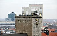 Stadtansichten 2009 - Luftaufnahme Augustusplatz aus 11. Etage des Europahaus - Blick auf Hotel Westin Leipzig davor Krochhochhaus hinten SachsenBank - im Vordergrund das Dach des Gewandhauses  . Foto: Norman Rembarz..Norman Rembarz , ( ASV-Autorennummer 41043728 ), Holbeinstr. 14, 04229 Leipzig, Tel.: 01794887569, Hypovereinsbank: BLZ: 86020086, KN: 357889472, St.Nr.: 231/261/06432 - Jegliche kommerzielle Nutzung ist honorar- und mehrwertsteuerpflichtig! Persönlichkeitsrechte sind zu wahren. Es wird keine Haftung übernommen bei Verletzung von Rechten Dritter. Autoren-Nennung gem. §13 UrhGes. wird verlangt. Weitergabe an Dritte nur nach  vorheriger Absprache..