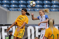 Seattle, WA - Thursday July 27, 2017: Sam Kerr, Samantha Mewis during a 2017 Tournament of Nations match between the women's national teams of the United States (USA) and Australia (AUS) at CenturyLink Field.