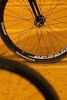 31 MAR 2015 - IPSWICH, GBR - Bent spokes on a bike on the grid during an Ipswich Cycle Speedway Club training session at Whitton Sports and Community Centre in Ipswich, Great Britain (PHOTO COPYRIGHT © 2015 NIGEL FARROW, ALL RIGHTS RESERVED)
