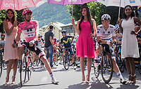 Nairo Quintana (COL/Movistar) just behind the leader's jersey's at the start (ready to take over?)<br /> <br /> Stage 17: Tirano › Canaze (219km)<br /> 100th Giro d'Italia 2017