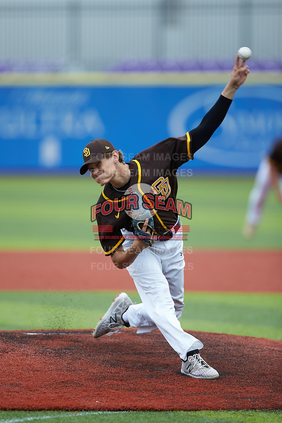 Garrett Moffett (5) of Wayne Country Day High School (NC) playing for the San Diego Padres scout team during game five of the South Atlantic Border Battle at Truist Point on September 27, 2020 in High Pont, NC. (Brian Westerholt/Four Seam Images)