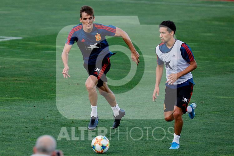 Diego Llorente and Jesus Navas during the Trainee Session at Ciudad del Futbol in Las Rozas, Spain. September 02, 2019. (ALTERPHOTOS/A. Perez Meca)