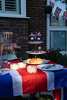 Cakes at a street party in Sidcup, Kent, England 8th May 2020. Victory in Europe (VE) 75th Anniversary Celebrations during the UK Lockdown due to the Coronavirus pandemic. Photo by Alan Stanford / PRiME Media Images