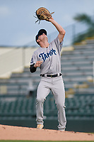 Tampa Tarpons first baseman Tyler Hardman (17) catches a popup during Game One of the Low-A Southeast Championship Series against the Bradenton Marauders on September 21, 2021 at LECOM Park in Bradenton, Florida.  (Mike Janes/Four Seam Images)
