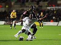 Pictured: Jason Scotland of Swansea (front) shoots the ball off target while closely marked by Damion Stewert of Queens Park Rangers.<br /> Re: Coca Cola Championship, Swansea City Football Club v Queens Park Rangers at the Liberty Stadium, Swansea, south Wales 21st October 2008.