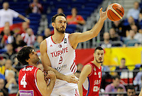 Turkey's Semih Erden vies with Serbia's Milos Teodosic during European championship group B basketball match between Turkey and Serbia on 09. September 2015 in Berlin, Germany  (credit image & photo: Pedja Milosavljevic / STARSPORT)