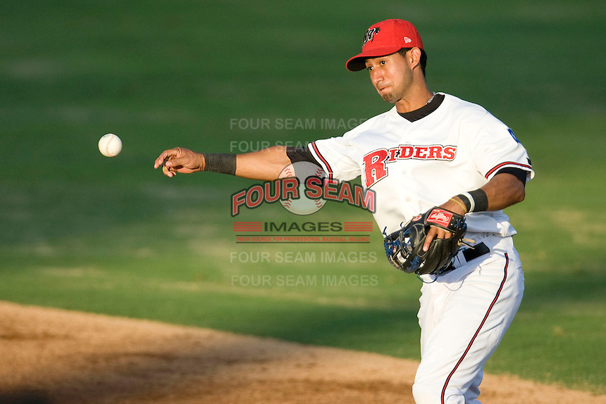 Frisco Roughriders second baseman Renny Osuna #13 throws the ball to first during the Texas League All Star Game played on June 29, 2011 at Nelson Wolff Stadium in San Antonio, Texas. The South All Star team defeated the North All Star team 3-2. (Andrew Woolley / Four Seam Images)