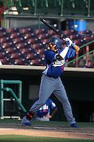 James Baldwin #9 of the Rancho Cucamonga Quakes bats against the Inland Empire 66ers at San Manuel Stadium on August 10, 2014 in San Bernardino, California. Inland Empire defeated Rancho Cucamonga, 4-1. (Larry Goren/Four Seam Images)
