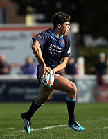 Joe Luca Smith of London Scottish in action during the Greene King IPA Championship match between London Scottish Football Club and London Irish Rugby Football Club  at Richmond Athletic Ground, Richmond, United Kingdom on 7 October 2018. Photo by Harry Hubbard/PRiME Media Images.