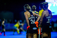 NZ's Rose Keddell waits to be subbed back on during the Sentinel Homes Trans Tasman Series hockey match between the New Zealand Black Sticks Women and the Australian Hockeyroos at Massey University Hockey Turf in Palmerston North, New Zealand on Tuesday, 1 June 2021. Photo: Dave Lintott / lintottphoto.co.nz