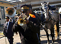 Trumpeter Greg Stafford plays during the first jazz funeral after Hurricane Katrina in New Orleans, October 29, 2005.