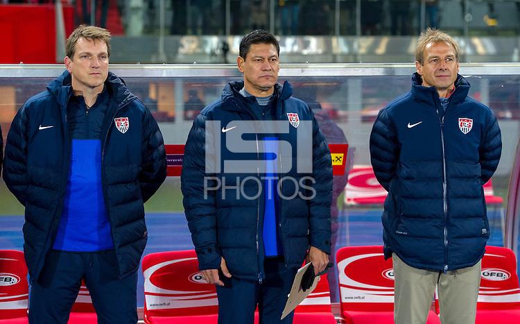 VIENNA, Austria - November 19, 2013: Andreas Herzog, Martin Vasquez and Jurgen Klinsmann during a 0-1 loss to host Austria during the international friendly match between Austria and the USA at Ernst-Happel-Stadium.