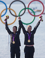 10.08.2012, Bucht von Weymouth, GBR, Olympia 2012, Segeln, Damen, 470er, Podium, im Bild Jo Aleh, Olivia Powrie (NZL, Gold Medaille) // gold medal Jo Aleh, Olivia Powrie (NZL) during Sailing women's medal race 470er at the 2012 Summer Olympics at Bay of Weymouth, United Kingdom on 2012/08/10. EXPA Pictures © 2012, PhotoCredit: EXPA/ Johann Groder .Olimpiadi Londra 2012.London 2012 Olympic Games.foto Insidefoto - Italy ONLY