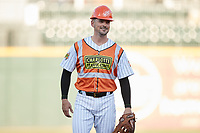 Charlotte Traffic Cones shortstop Matt Reynolds (2) wears a hard hat while on defense during the first inning of the game against the Norfolk Tides at Truist Field on August 20, 2021 in Charlotte, North Carolina. (Brian Westerholt/Four Seam Images)